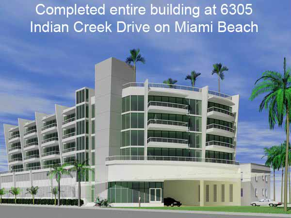 Front View of Completed construction at 6305 Indian Creek Drive, Miami Beach, FL